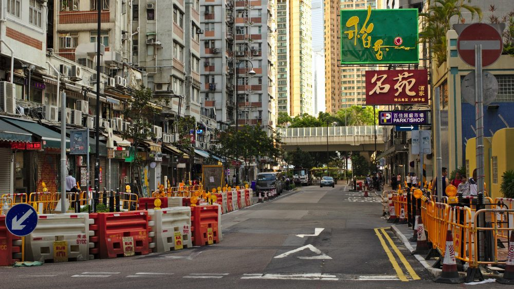 Image of a road in Hong Kong empty due to the lockdown