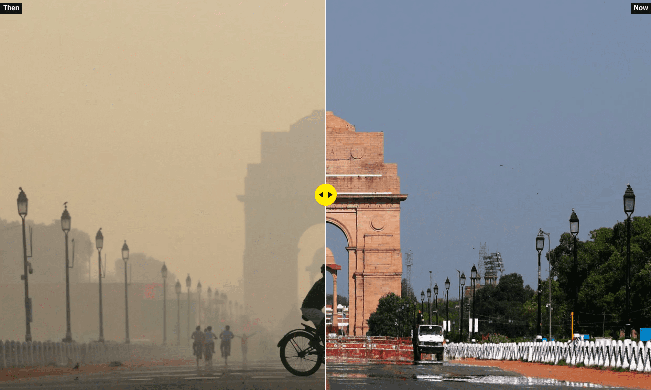 An image of New Delhi is split down the middle to show the before and after lockdown. The left is muggy and poluted, the right is clear and sunny