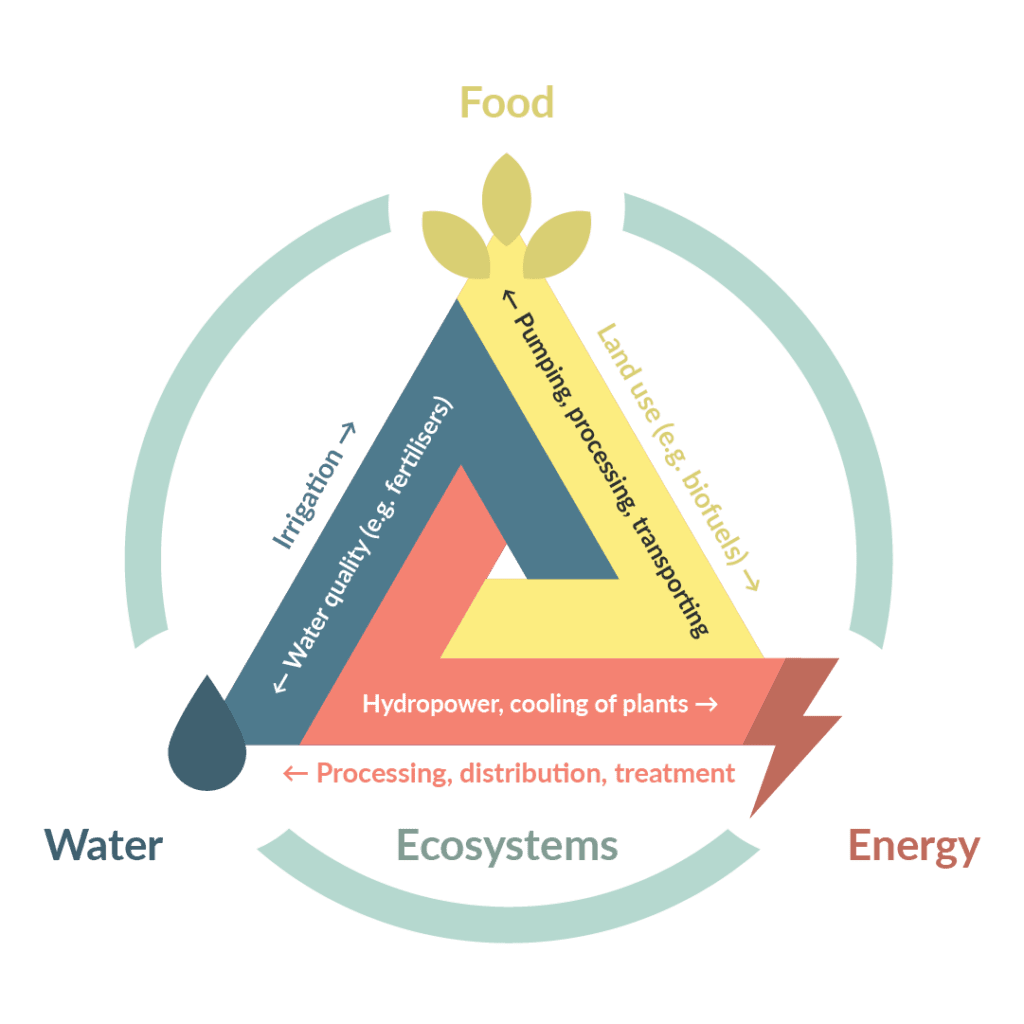 The Nexus relationship highlights how water, energy and food rely upon each other and affect each other