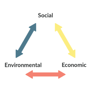 Arrows point in a triangle with the 3 corners reading 'Social, Economic and Environmental'