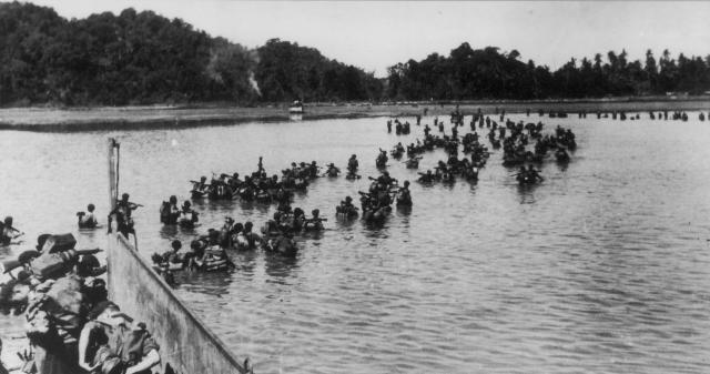 An example image that could be used in the extended essay - a picture of commandos during the Arakan Campaign
